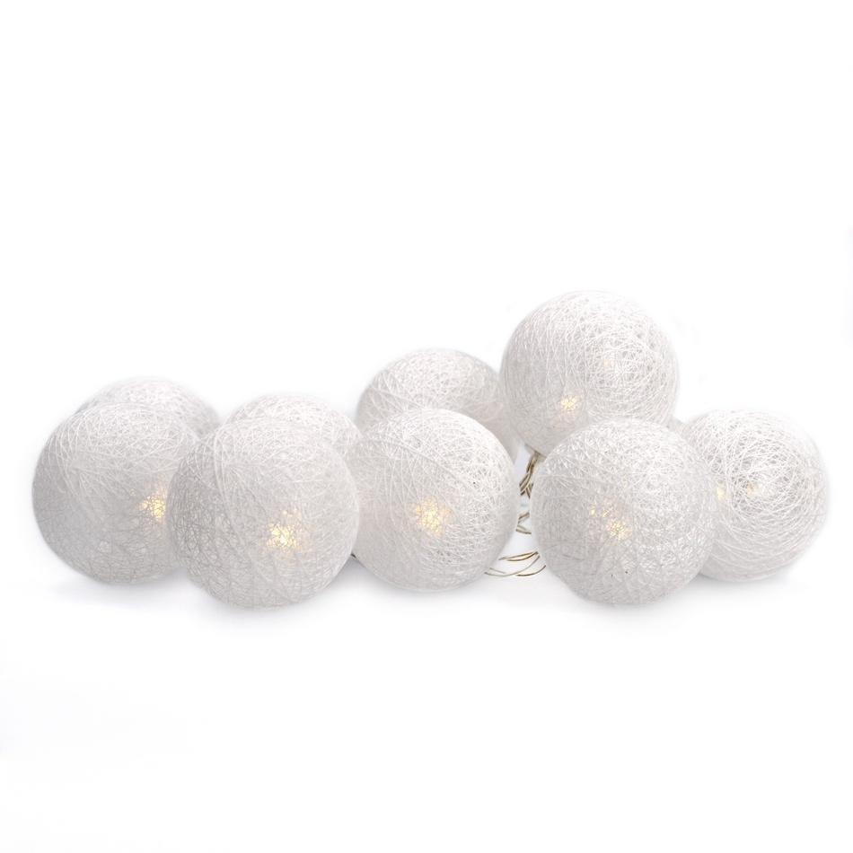 1V201 Solight LED řetěz vánoční koule bavlněné, 10LED, 1m, 2x AA, IP20