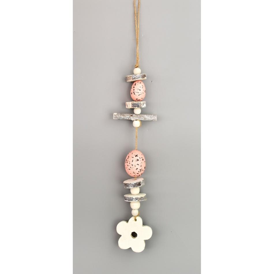 Velikonoční závěsná dekorace Vajíčka růžová, 30 cm
