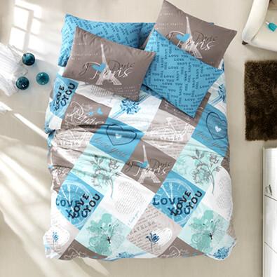 Bavlněné povlečení Parisienne modrá, 140 x 200 cm, 70 x 90 cm