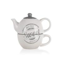 Ceainic din ceramică cu ceașcă Sweet home Banquet