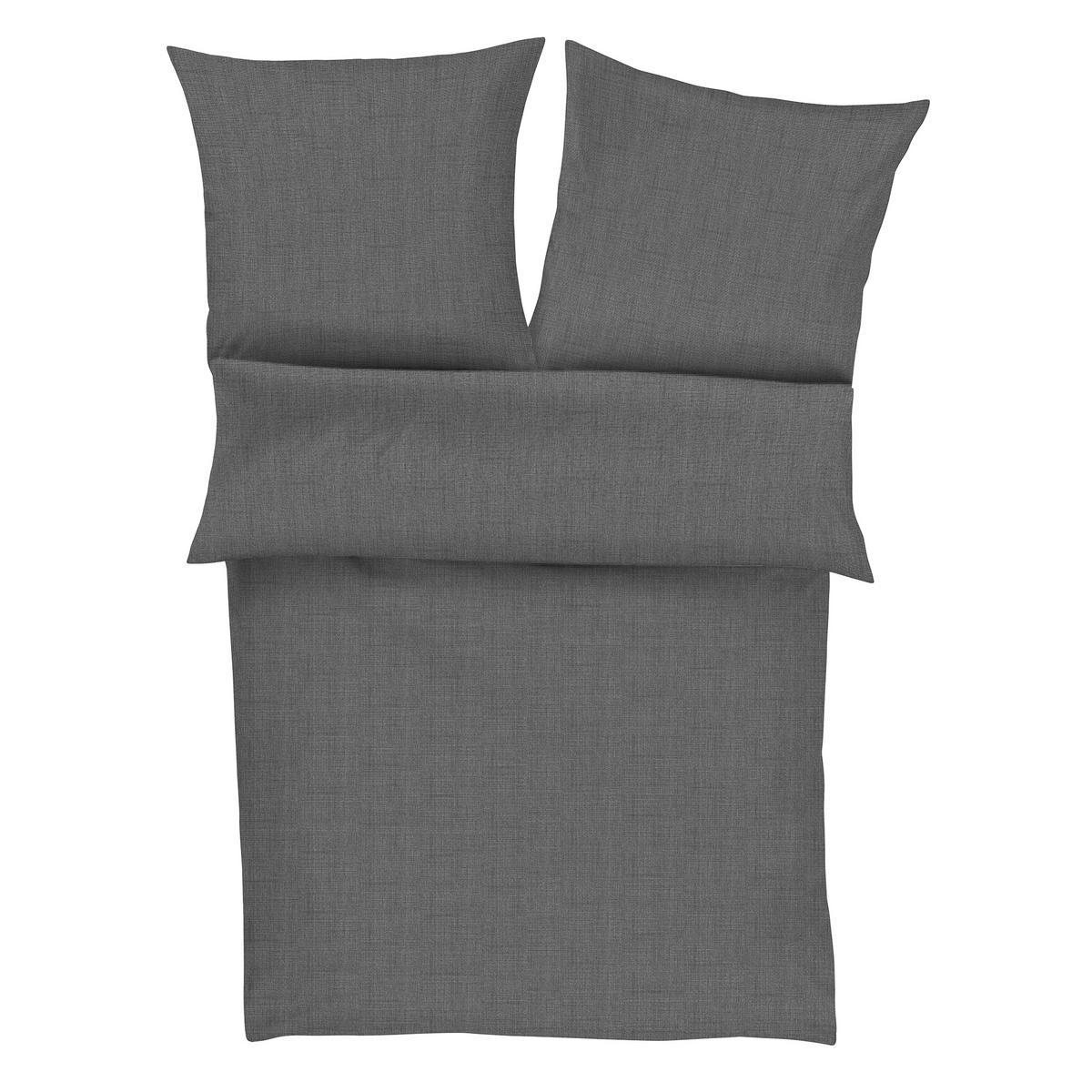 Zeitgeist Povlečení Lima satén - flanel 4670/840 tmavě šedá, 140 x 200 cm, 70 x 90 cm