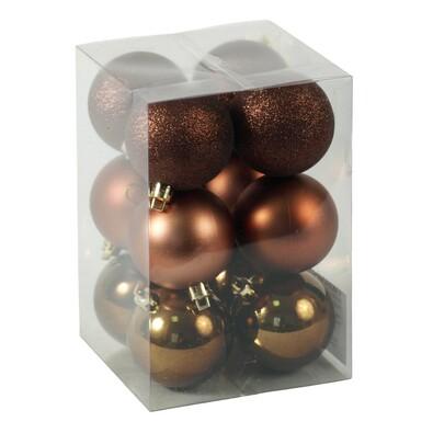 Plastové vánoční koule, měděné, 12 ks, měděná