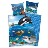 Vízi világ gyermek pamut ágynemű, 140 x 200 cm, 70 x 90 cm
