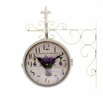 Ceas metalic Lavande bouquet, cu două fețe, 36 x40 x 6,5 cm