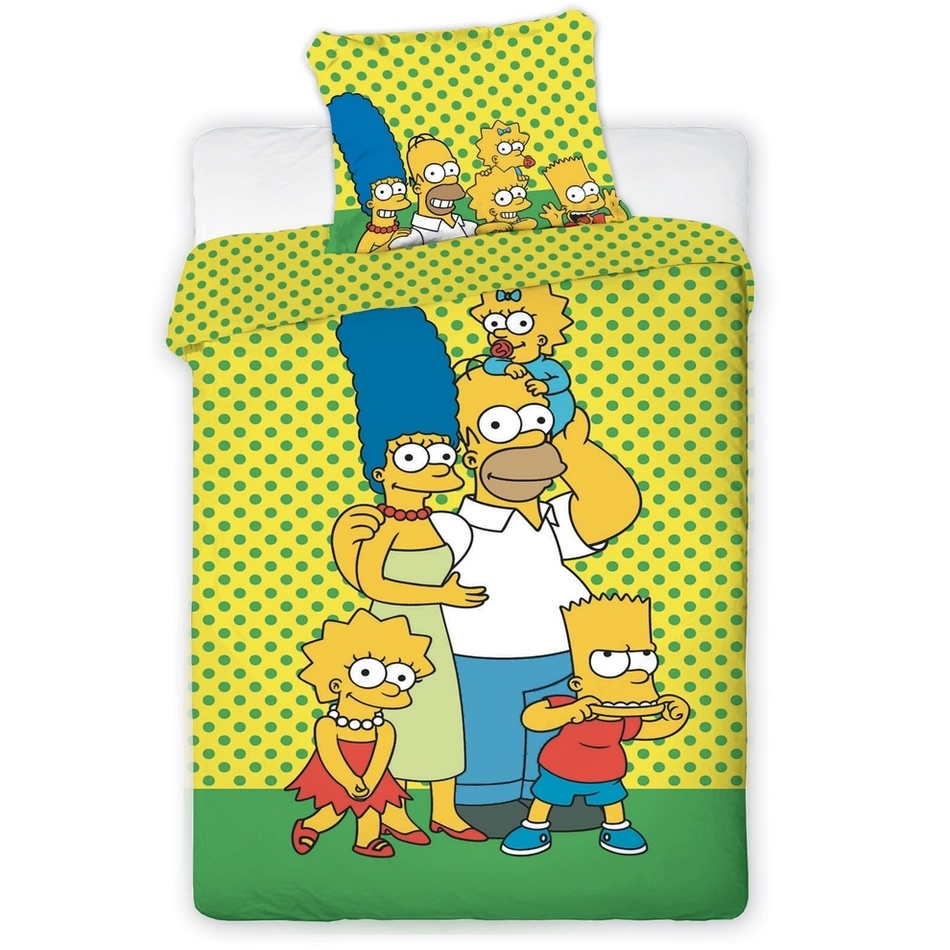 Jerry Fabrics Bavlnené obliečky The Simpsons, 140 x 200 cm, 70 x 90