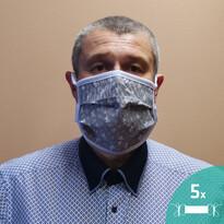 Masca facială  de protecție Sanybetka din bumbac, set 5 buc., mărime universală