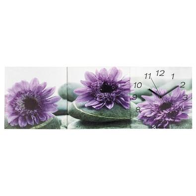 3dílný obraz s hodinami Chryzantémy, fialová