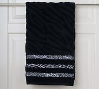 Osuška s plastickým vzorem, černá, 70 x 140 cm