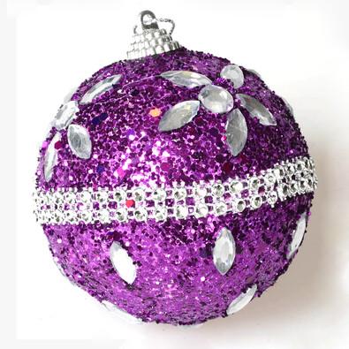 Koule s drahokamy, fialová, pr. 12 cm, fialová