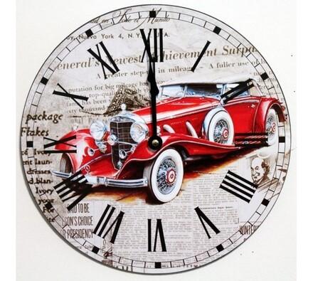 Nástěnné hodiny červený automobil