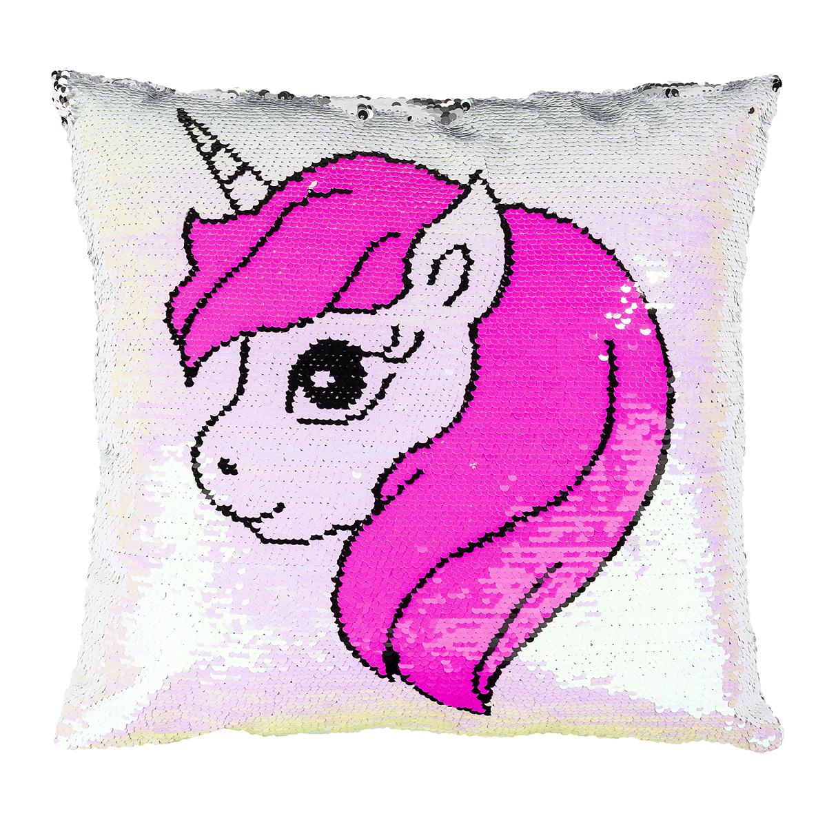 Pernuță Unicorn cu paiete, roz, 40 x 40 cm imagine 2021 e4home.ro