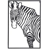Závesná kovová dekorácia Zebra biela, 30 x 40 cm