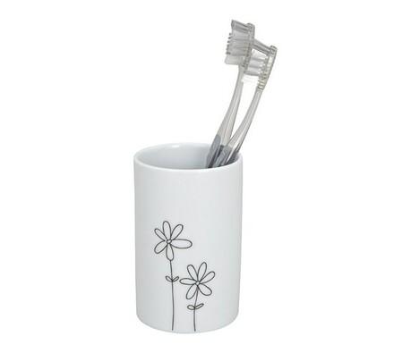 Kelímek na kartáčky s květinami, bílá