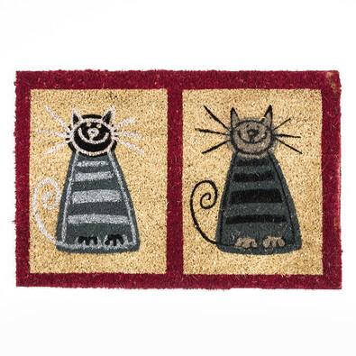 Kokosová rohožka dvě kočky, 40 x 60 cm