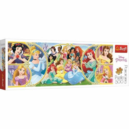 Trefl Panoramatické puzzle Späť do sveta princezien, 500 dielikov