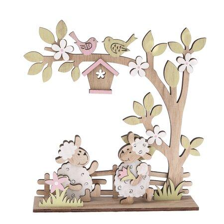 Drevená jarná dekorácia Ovečky, 21 x 22,5 cm