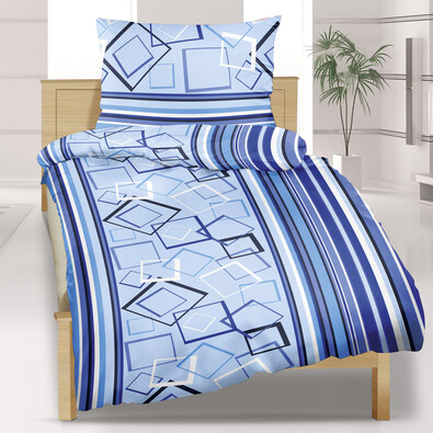 Flanelové povlečení Kosočtverce modré, 140 x 220 cm, 70 x 90 cm