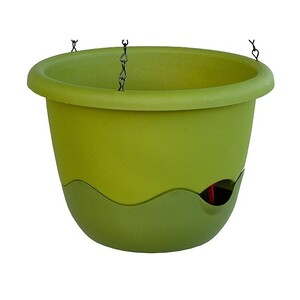 Samozavlažovací závěsný květináč Mareta, zelená, 25 cm, Plastia, pr. 25 cm