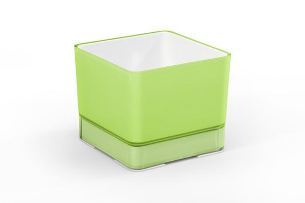 Ghiveci de flori Cube, din plastic, 120 verde