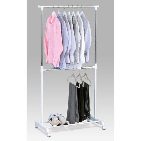 Stojan na šaty chrom / bílá, 80 x 170 cm