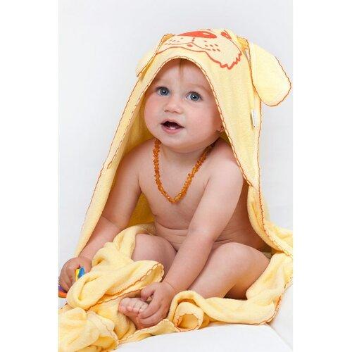 New Baby Kutyusos kapucnis törölköző, narancssárga, 100 x 100 cm