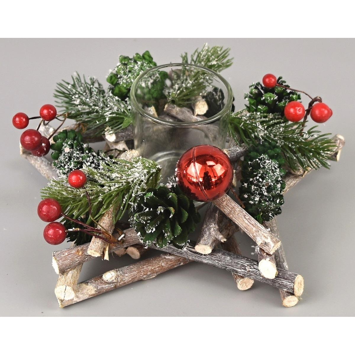 Vánoční svícen Green pine, 20 x 8 cm