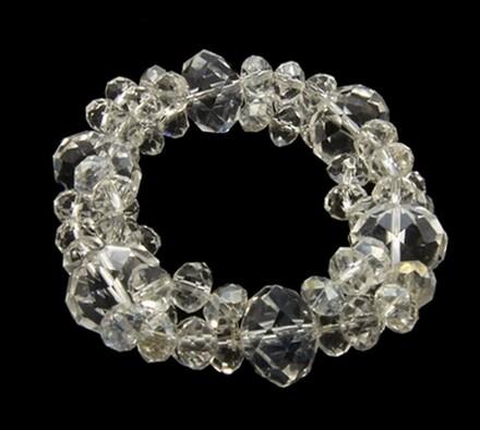 Elastický dámský náramek s krystalovými korálky