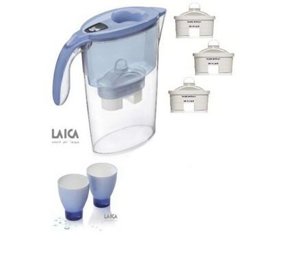 LAICA Stream Line filtrační konvice + 2 sklenice + 3 ks filtrů Bi-flux ZDARMA