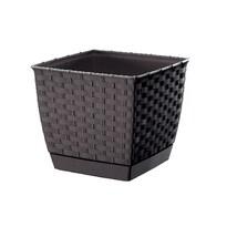 Ratolla Square műanyag virágcserép sötétbarna, 25 x 22 cm