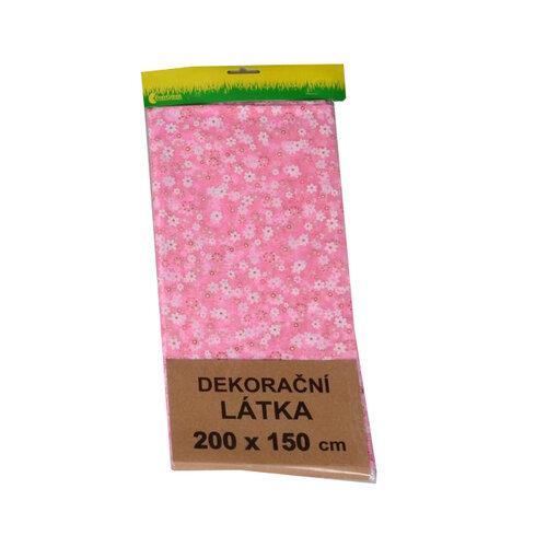 Organza s květinovým vzorem, růžová, 150 x 200 cm, HTH