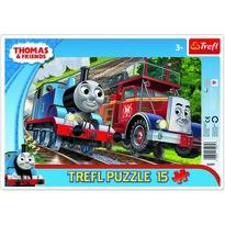 Trefl Puzzle Mašinka Tomáš a hasič Flynn, 15 dílků