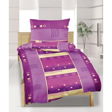 Flanelové povlečení Vlnky fialové, 140 x 220 cm, 70 x 90 cm