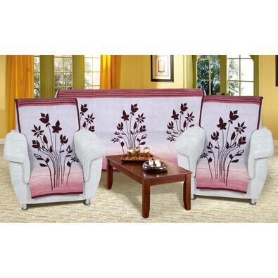 Přehozy na sedací soupravu Karmela plus Květy bordó, 150 x 200 cm, 2 ks 65 x 150 cm