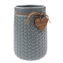 Vază ceramică Heart, gri, 12 x 17,5 x 16,5 cm