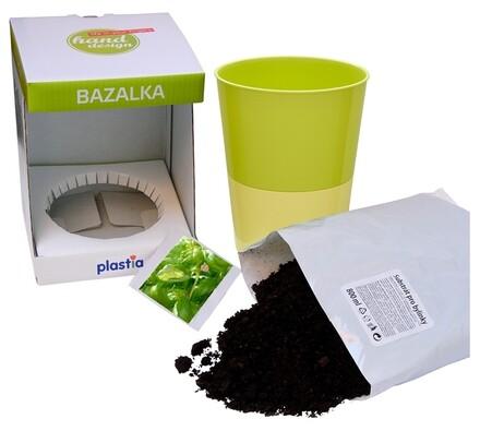 Samozavlažovací květináč Rosmarin, bylinka bazalka, zelená