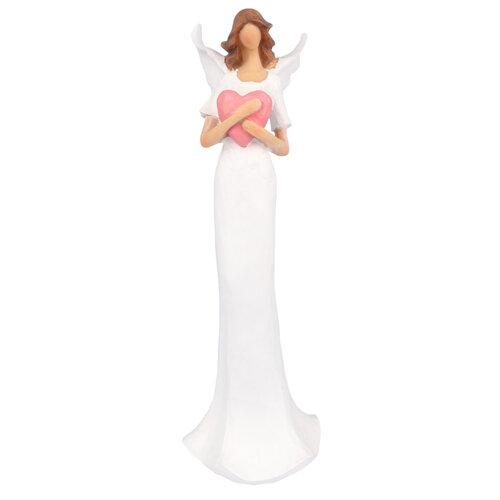 Polyresinový anjel so srdcom, 30 cm