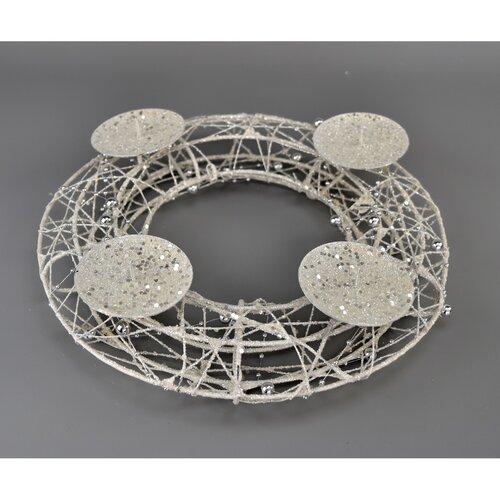 Congelé adventi gyertyatartó, fehér, 25 cm