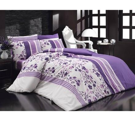 Bavlněné povlečení Lilamor V2 fialová, 140 x 220 cm, 70 x 90 cm