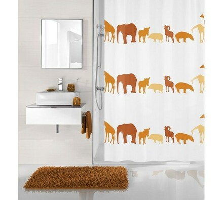 Koupelnový závěs Zoo Meusch oranžový, 180 x 200 cm