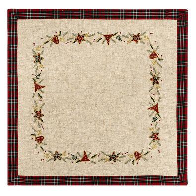 Vianočný vyšívaný obrus Vianočné ozdoby režná, 85 x 85 cm