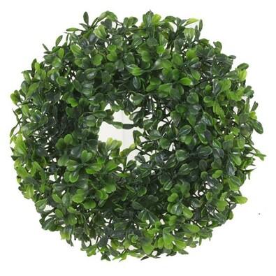 Levelek műkoszorú, zöld, átmérő: 23 cm