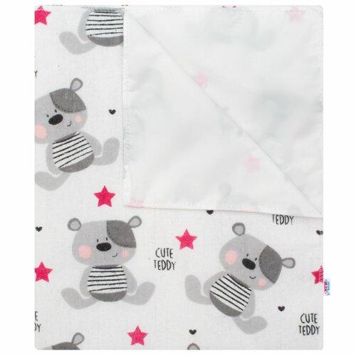 New Baby Wodoodporna podkładka z flaneli Cute Teddy różowy, 57 x 47 cm