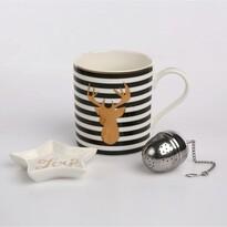 Altom Porcelánový hrnček so sitkom v darčekovej krabičke Nordic Winter gold 380 ml