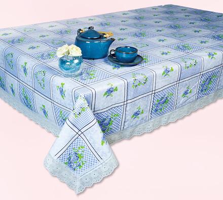 PVC ubrus s krajkou Modrá romance, 125 x 155 cm