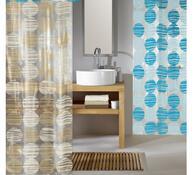 Vinylový sprchový závěs Koule, modrá