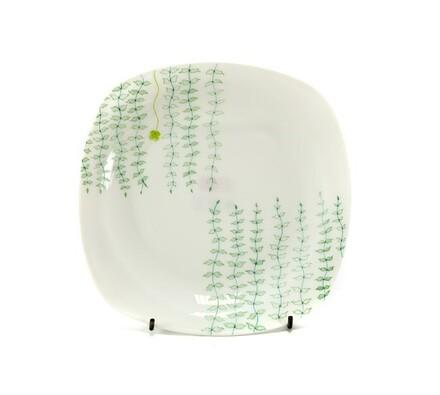 Desertní hranatý talíř Victoria, 21,5 cm, 6 ks, bílá