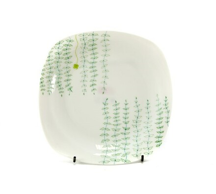 Hluboký talíř, 6 ks, bílá + zelená, bílá