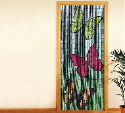 Bambusový závěs Motýl, 90 x 200 cm, modrá, 90 x 200 cm