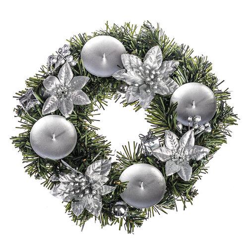 Vianočná dekorácia s poinsettiou pr. 25 cm, strieborná
