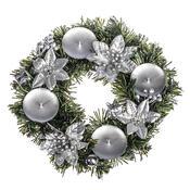 Vánoční dekorace s poinsetií pr. 25 cm, stříbrná